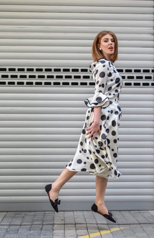 White-and-black-polka-dot-dress
